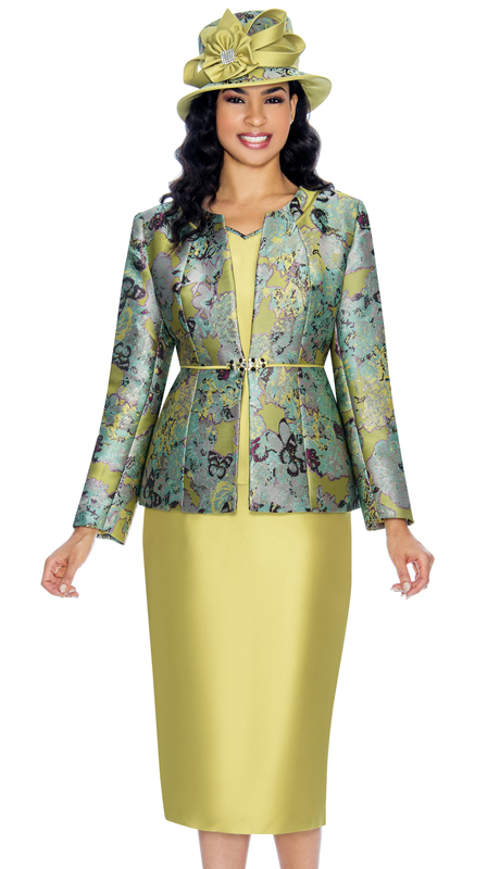 Giovanna G1066 ( 3pc Ladies Brocade And Silk Look Sunday Suit With Gorgeously Patterned Jacket )
