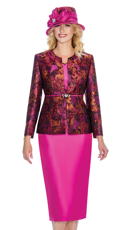 Giovanna G1066-F ( 3pc Ladies Brocade And Silk Look Sunday Suit With Gorgeously Patterned Jacket )