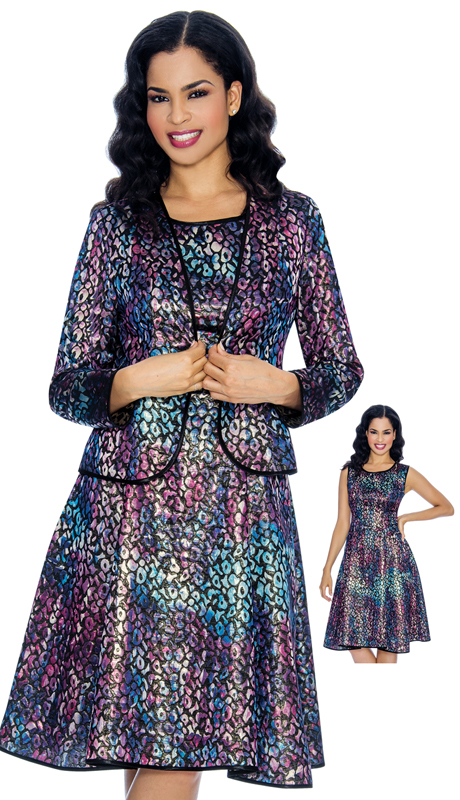 Giovanna 1064-BL03 ( 2pc Ladies Multi Colored Church Dress With Matching Leopard Print Jacket )