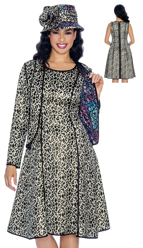 Giovanna 1064 ( 2pc Ladies Church Dress With Matching Leopard Print Jacket, The Dress And Jacket Are Reversible )
