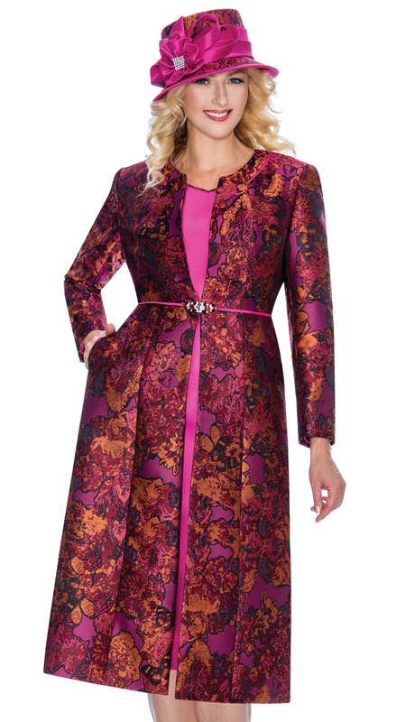 Giovanna G1062-F ( 2pc Ladies Dress In Brocade With Organic Pattern )
