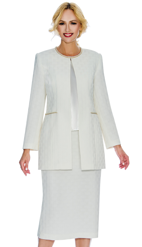 Giovanna G1059 ( 3pc Matte Basket Weave Brocade Ladies Suit For Sunday With Pearl Trim And Accented Pockets )