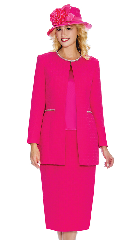 Giovanna G1059-F ( 3pc Matte Basket Weave Brocade Ladies Suit For Sunday With Pearl Trim And Accented Pockets )