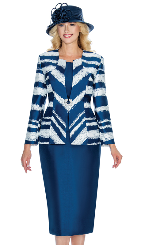 Giovanna G1056 ( 3pc Silk Look Womens Suit In An Elegant Two Tone Print )