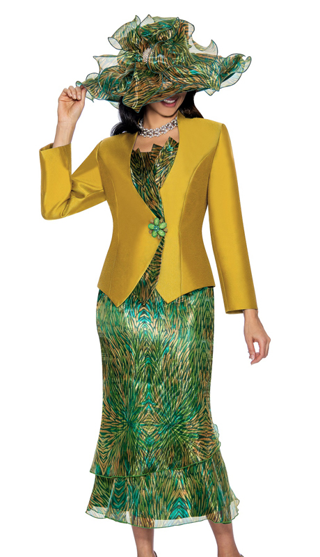Giovanna G1051-Gold ( 2pc Novelty Church Suit In An Elegant Print )