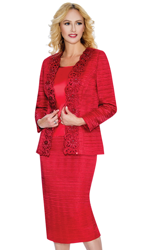 Giovanna G 1011-Red ( 3pc  Satin Taffeta Ladies Suit For Sunday With Cutouts And Beading )