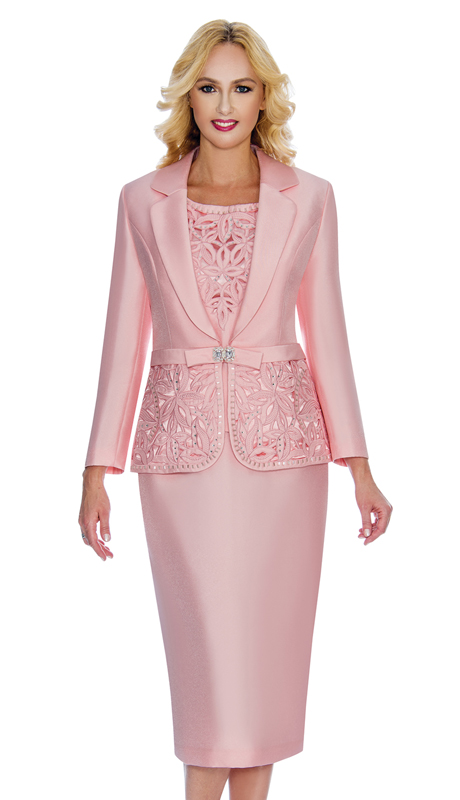 Giovanna 1007-SP-CO ( 3pc Silk Look Womens Church Suit With Ornate Cut Outs And Beading On Jacket And Cami )
