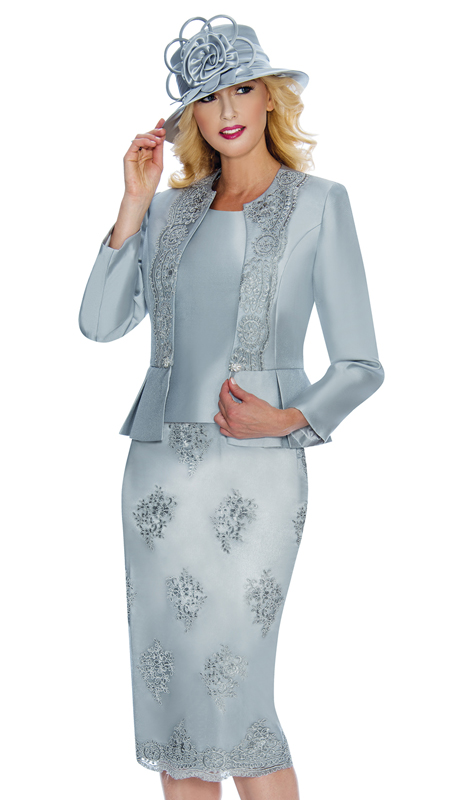 Giovanna G0844-SIL ( 3pc Silk Look With Lace Ladies Church Suit With Beaded Embellishments, Pleated Peplum Jacket, Cami And Skirt )