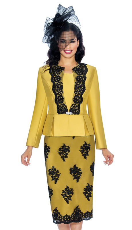 Giovanna G0844-GO ( 3pc Silk Look With Lace Ladies Church Suit With Beaded Embellishments, Pleated Peplum Jacket, Cami And Skirt )