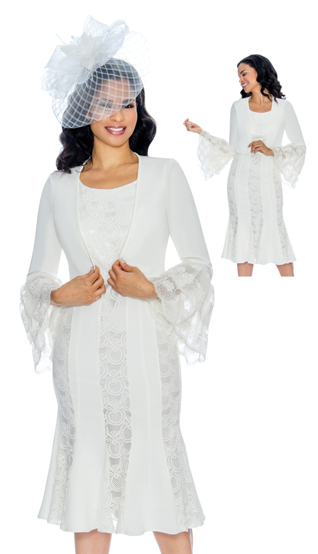 Giovanna D1500 ( 2pc Ladies Lace Church Dress With Bell Sleeves )