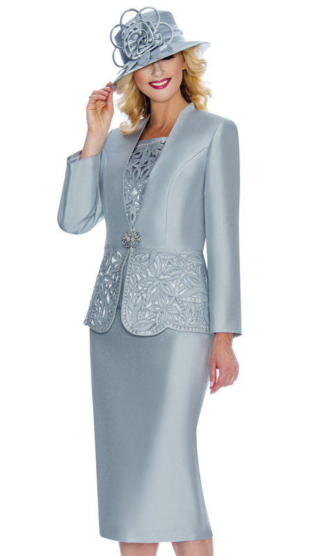 Giovanna G1088-Sil ( 3pc Silk Look Womens Collarless Church Suit With Cutouts And Beading )