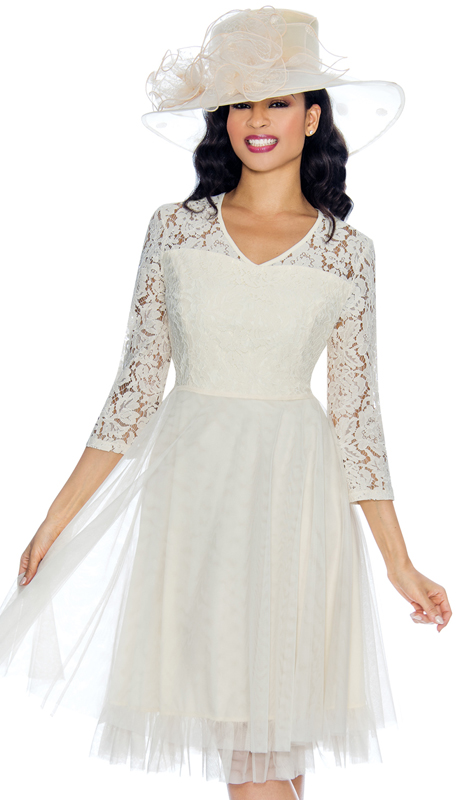 Giovanna D1474 ( 1pc Chiffon Womens Church Dress With Lace Sleeves And Shoulders )