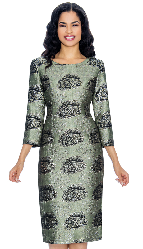 Giovanna D1506 ( 1pc Womens Brocade Dress For Church With Three Quarter Sleeves And Floral Patterning )