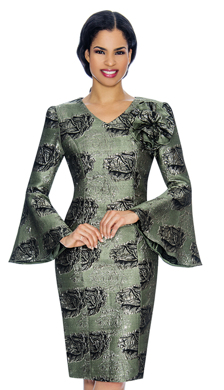 Giovanna D1505 ( 2pc Brocade Ladies Sunday Dress With Flare Sleeves, Floral Patterning, And Detachable Bow )