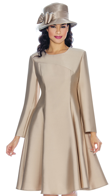 Giovanna D1504-CH ( 1pc Silk Look Ladies Church Dress With Hi Low Stitching On Front )