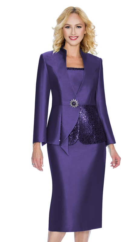 Giovanna D1072-P ( 3pc Ladies Silk Look Church Suit With Sequin Trim On Cami And Jacket )