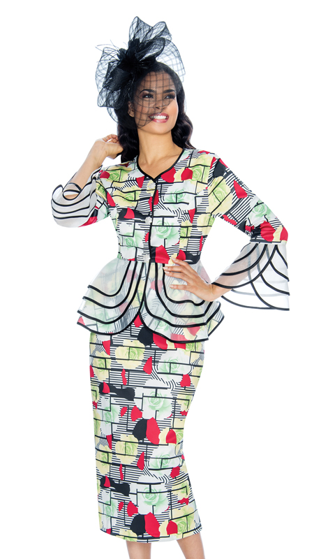 Giovanna D1342-RW ( 2pc Novelty Womens Sunday Suit In Gorgeous Pattern With Sheer Trim )