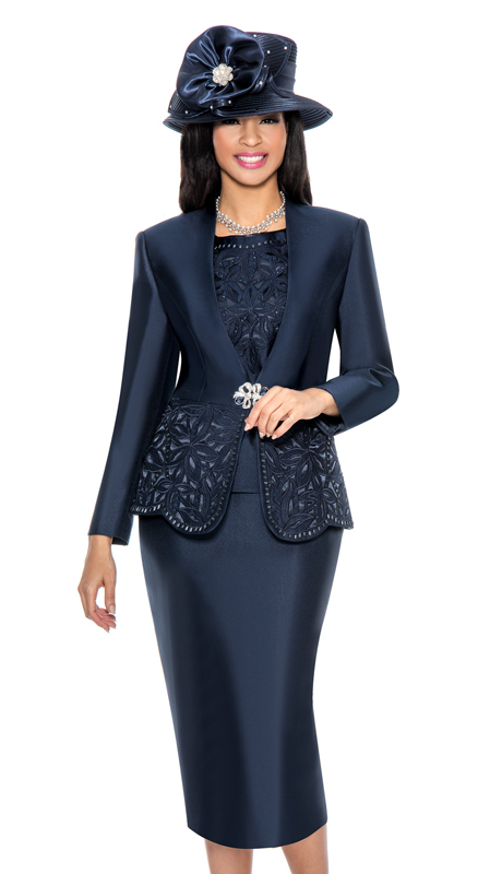 Giovanna G1088-N ( 3pc Silk Look Womens Collarless Church Suit With Cutouts And Beading )