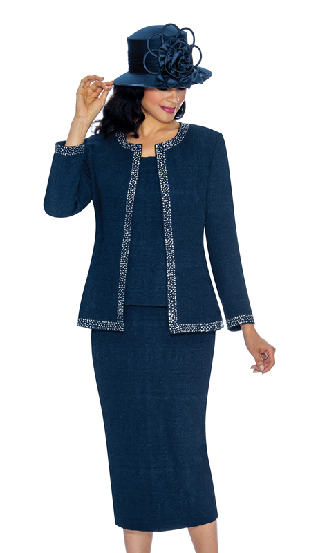Giovanna 0918-N ( 3pc Jacquard First Ladies Suit For Church With Beautiful Rhinestone Adornments )