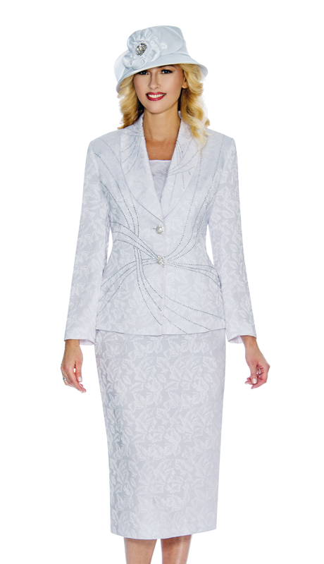 Giovanna 0913 ( 3pc Brocade Womens Suit For Sunday With Rhinestones On Shawl Collar And Jacket )