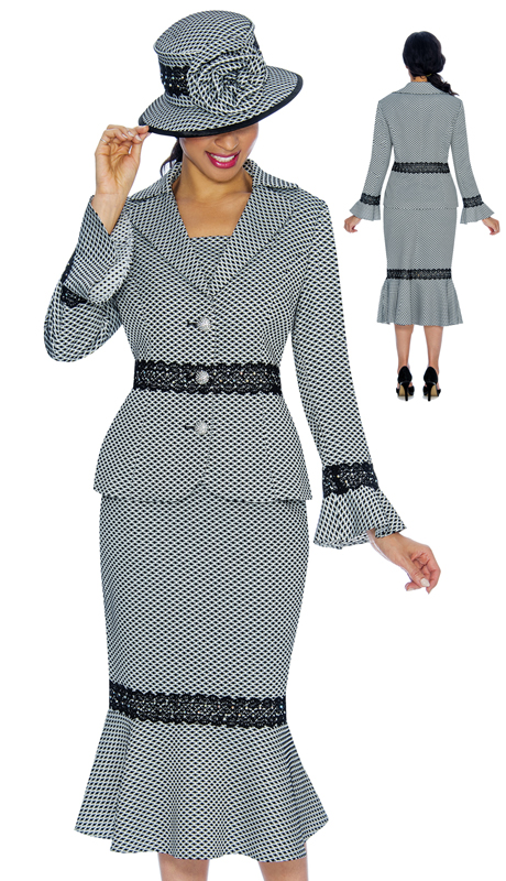 Giovanna 0910-BW ( 2pc Ladies Brocade Church Suit With Lace Trim, Notch Collar And Bell Cuffs )