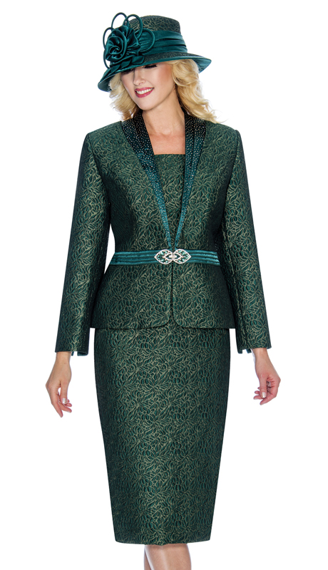 Giovanna 0908-E ( 2pc Womens Metallic Brocade Suit For Church With Ornate Clasp )