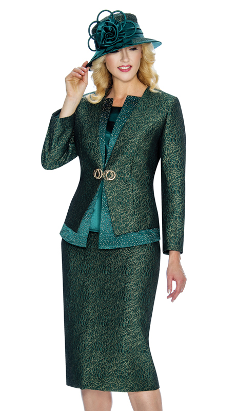 Giovanna 0907-Em ( 3pc Womens Metallic Brocade Suit For Church With Stylized Clasp )