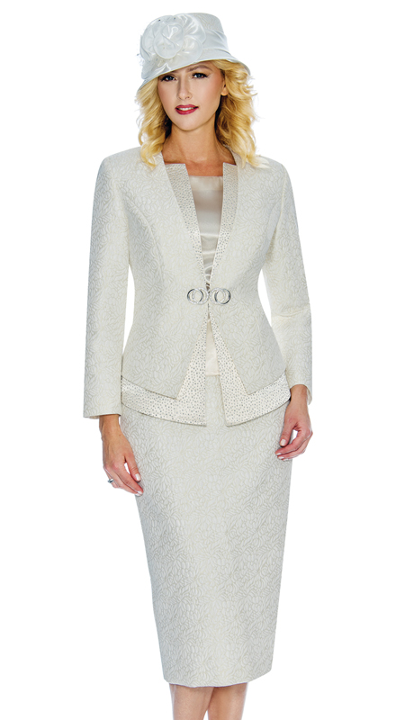 Giovanna 0907-CH ( 3pc Womens Metallic Brocade Suit For Church With Stylized Clasp )