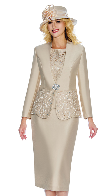 Giovanna G1088-Ch ( 3pc Silk Look Womens Collarless Church Suit With Cutouts And Beading )