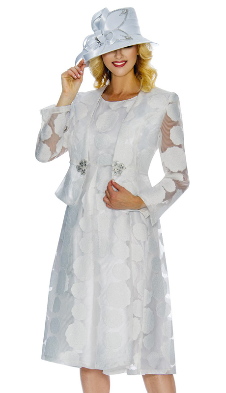 Giovanna D1345-W-CO ( 2pc Organza And Shimmer Detail Jacket Dress With Rhinestone Buckle )