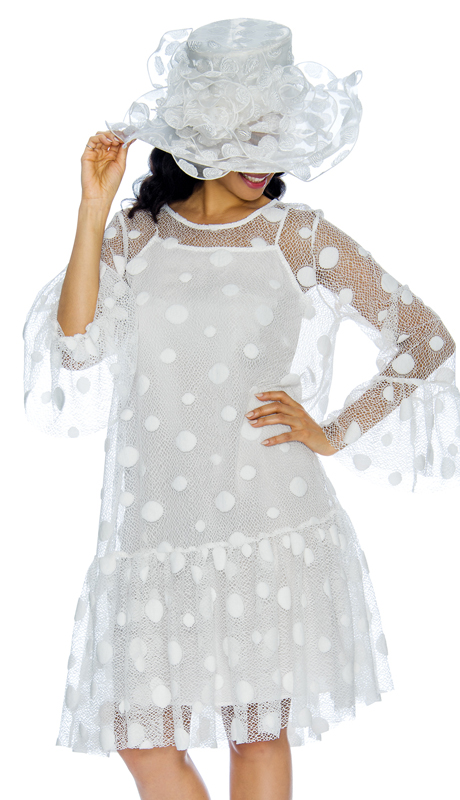 Giovanna 1323-W  ( 2pc Lace With Organza Ladies Dress With Flare Sleeves And Polka Dot Detailing )