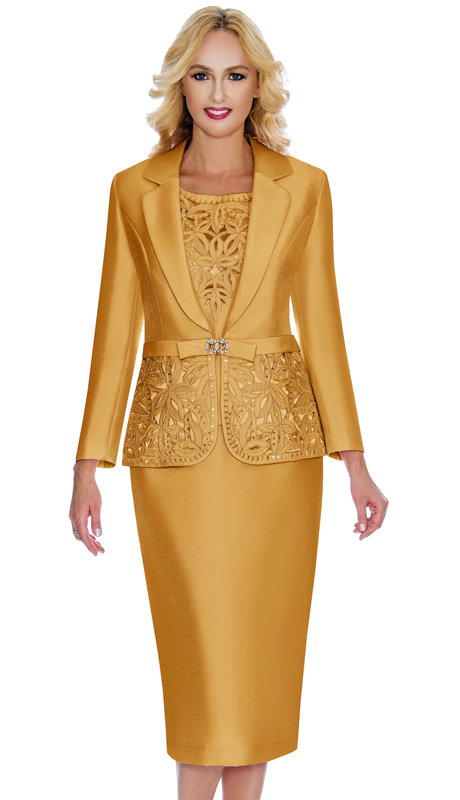 Giovanna 1007-G-CO ( 3pc Silk Look Womens Church Suit With Ornate Cut Outs And Beading On Jacket And Cami )