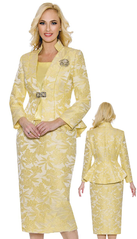 Giovanna G1110-YE ( 3pc First Ladies Suit With Novelty Fishtail Jacket, Rhinestone Clasp And Brooch )