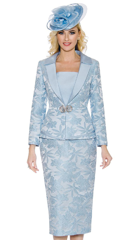 Giovanna G1096-BL ( 3pc Novelty Ladies Church Suit With Notch Collar And Rhinestone Clasp )