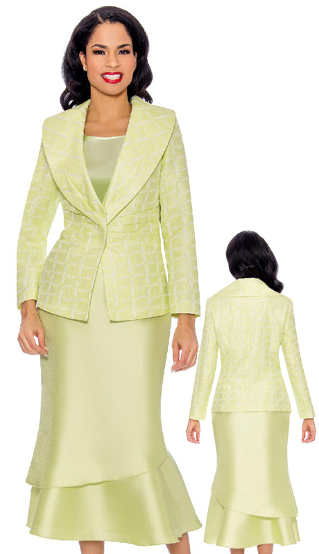 Giovanna G1099-LI ( 3pc Womens Sunday Suit With Brocade Jacket, Silk Layered Flare Skirt And Shawl Collar )