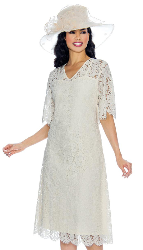 Giovanna D1333-IV ( 1pc Lace Dress With Butterfly Sleeves )