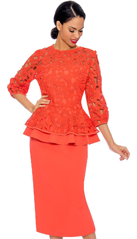 Giovanna 0930-OR ( 2pc Lace With PeackSkin First Lady Suit With Layered Top And Solid Skirt )