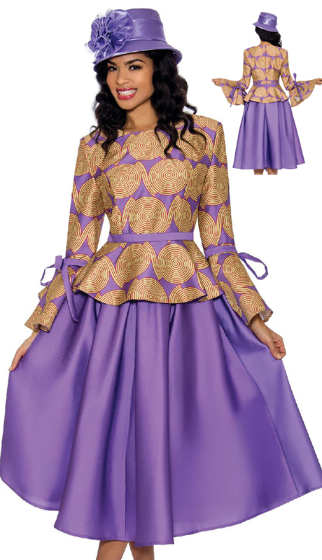 Giovanna 0928-VG ( 2pc Silk Look First Ladies Skirt Set With Tie And Bow Sleeves And Swing Skirt )