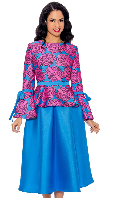 Giovanna 0928-OBM ( 2pc Silk Look First Ladies Skirt Set With Tie And Bow Sleeves And Swing Skirt )
