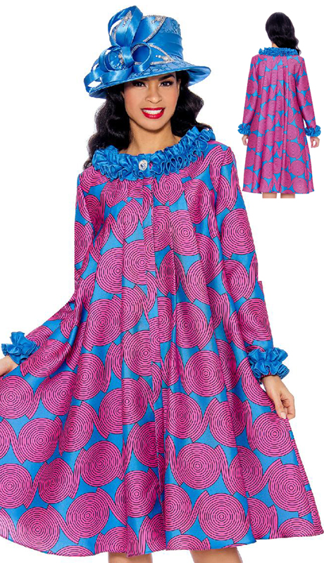 Giovanna 0927-OBM ( 1pc Silk Look Ruffled Neckline And Sleeve Printed Dress )