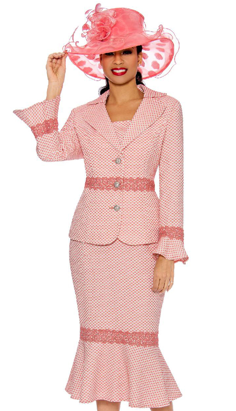 Giovanna 0910-CO ( 2pc Ladies Brocade Church Suit With Lace Trim, Notch Collar And Bell Cuffs )