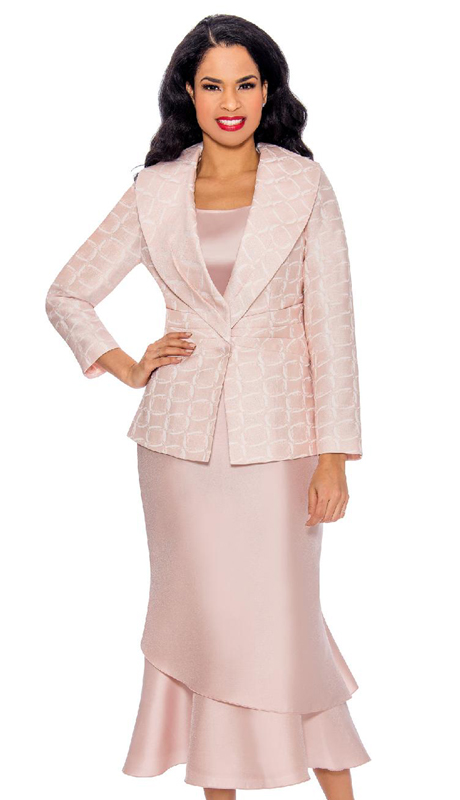 Giovanna G1099-BP ( 3pc Womens Sunday Suit With Brocade Jacket, Silk Layered Flare Skirt And Shawl Collar )