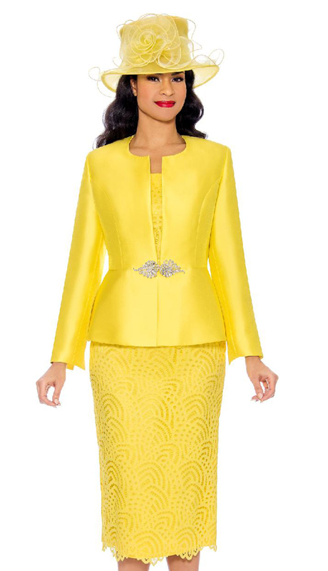 Giovanna G1098-YE ( 3pc Silk And Lace Ladies Church Suit With Rhinestone Clasp Button )