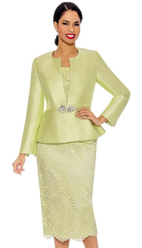 Giovanna G1098-LI ( 3pc Silk And Lace Ladies Church Suit With Rhinestone Clasp Button )