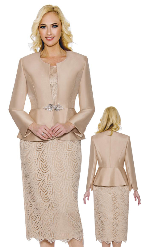 Giovanna G1098-CH ( 3pc Silk And Lace Ladies Church Suit With Rhinestone Clasp Button )