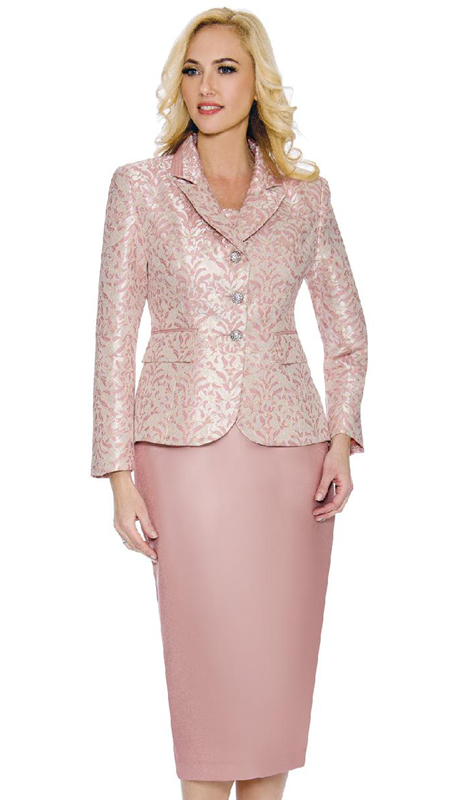 Giovanna G1097-PI ( 3pc Silk Look With Brocade Womens Church Suit With Notch Collar And Rhinestone Buttons )