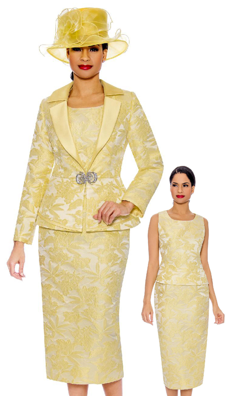 Giovanna G1096-YE-CO ( 3pc Brocade Ladies Church Suit With Notch Collar And Rhinestone Clasp )