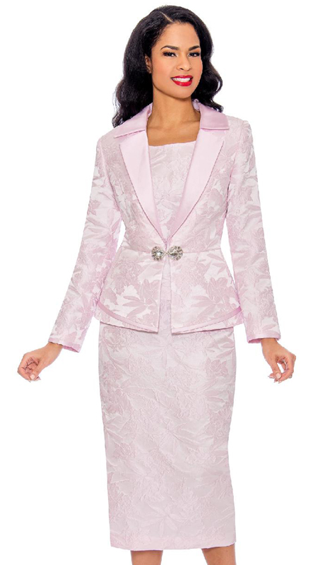 Giovanna G1096-PI ( 3pc Novelty Ladies Church Suit With Notch Collar And Rhinestone Clasp )
