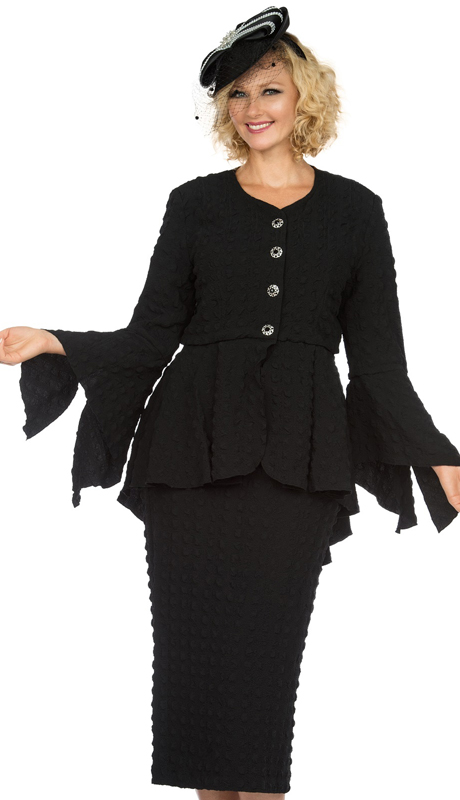 Giovanna 0944-B ( 2pc Popcorn Womens Church Suit With Beautiful Peplum Jacket And Column Skirt )
