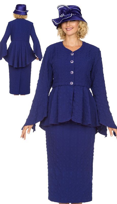 Giovanna 0944-P ( 2pc Popcorn Womens Church Suit With Beautiful Peplum Jacket And Column Skirt )